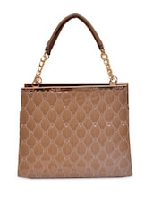 Beige PU Brown Hand Bag - By