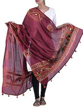Maroon  Embroidered Cotton Duppatta - By