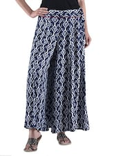 Blue And White Rayon Printed Palazzo - By