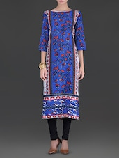 Blue Printed Poly Crepe Kurta - By