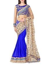 Blue Net Georgette Embroidered Sari - By