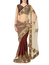 Brown Net Georgette Embroidered Sari - By