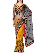 Yellow Net Georgette Embroidered Sari - By