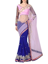 Pink Net Georgette Embroidered Sari - By