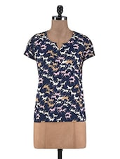 Navy Blue Polycrepe Printed Top - By