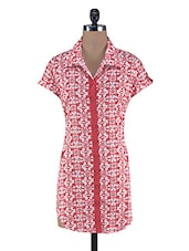 Red Cotton Abstract Print Kurti - By