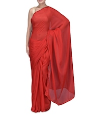 Red Embroidered Satin Chiffon Net Saree - By