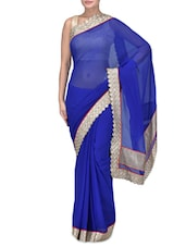 Blue Embroidered Poly Chiffon Party Wear Saree - By