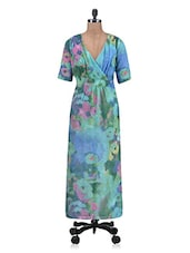 Green Poly Georgette Printed Dress With Gathers - By