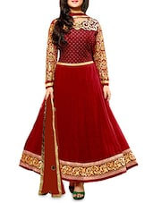 Red Embroidered Semi Stitched Silk Anarkali Suit Piece - By
