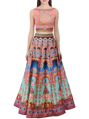 multi colored silk printed lehenga