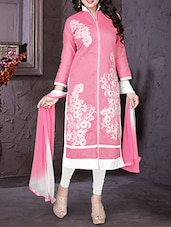 Pink Poly Cotton straight semi-stitched suit -  online shopping for Semi-Stitched Suits