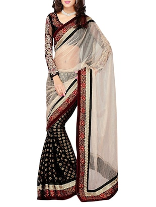 White georgette embroidered half and hald saree