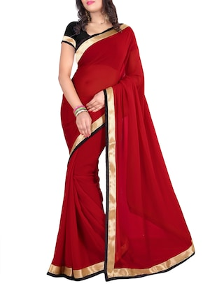 red georgette bordered saree