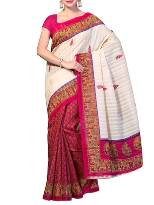 Pink art silk half and half saree