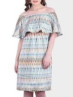 multicolored printed satin dress -  online shopping for Dresses