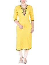 Yellow Rayon Long Kurta - By