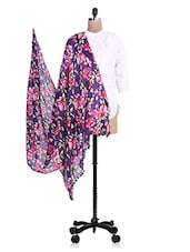 Purple Floral Printed Cotton Dupatta - By