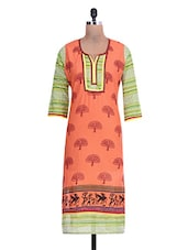 Orange Cotton Printed  Dupatta - By