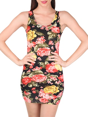 black floral printed bodycon dress -  online shopping for Dresses