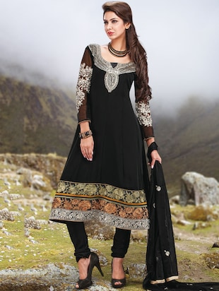 black georgette embrodiered anarkali dress material