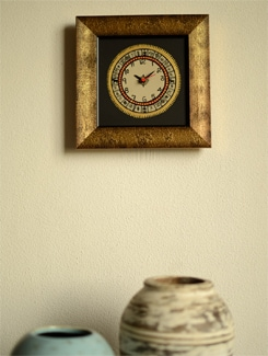 Ethnic Wall Clock With Golden Border - ExclusiveLane