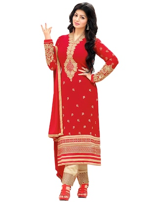 red georgette embroidered dress material