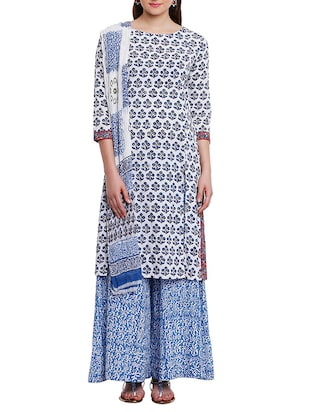 Blue Cotton Straight Palazzo Suit