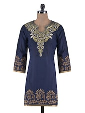 Navy Blue Cotton Embroidered Kurti - By