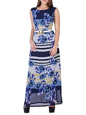 blue floral printed georgette maxi dress -  online shopping for Dresses