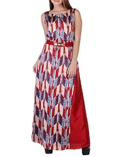 multicolor printed satin maxi dress -  online shopping for Dresses
