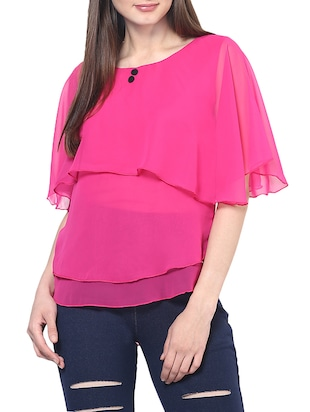 pink georgette layered top