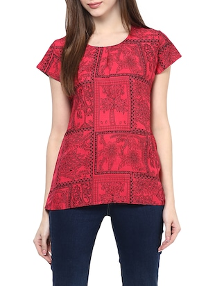 red printed cotton regular top -  online shopping for Tops