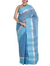 blue cotton taanth saree -  online shopping for Sarees
