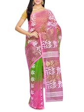 Pink cotton blend jamdani saree -  online shopping for Sarees