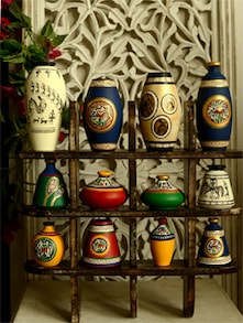 Wall hanging with assorted vases