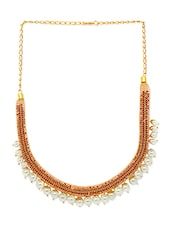 Pearl Embellished Gold Plated Copper Necklace - By