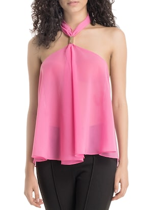 pink georgette backless top
