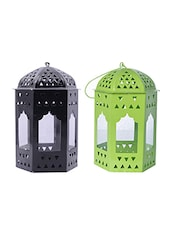 Decorate india Green and black Iron lantern -  online shopping for Lanterns