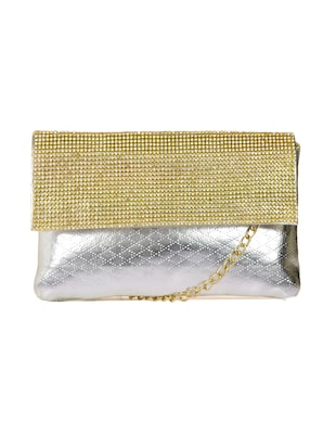silver synthetic leather clutch