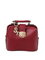 maroon leatherette satchel -  online shopping for Satchels