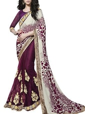 Off White And Wine Floral Booti Work Saree - By