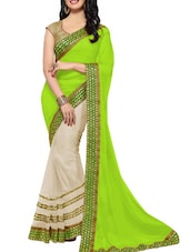 Green And Off White Zari Work Saree - By