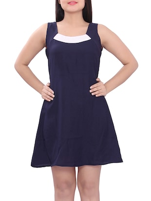 navy blue cotton aline dress -  online shopping for Dresses