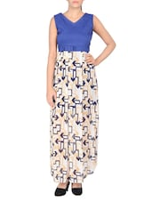 blue printed cotton maxi dress -  online shopping for Dresses