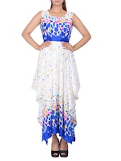 white printed cotton assymetric dress -  online shopping for Dresses