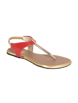 Pink synthetic flat sandals
