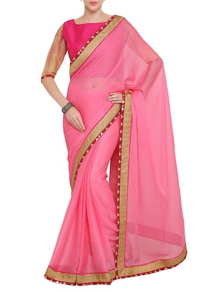 pink chiffon bordered saree