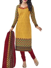 Yellow Cotton Semi-stitched salwar suit -  online shopping for Semi-Stitched Suits
