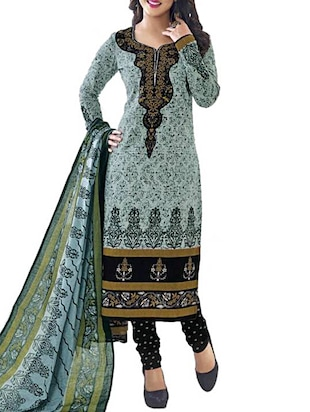 Grey Cotton Semi-Stitched Salwar Suit -  online shopping for Semi-Stitched Suits